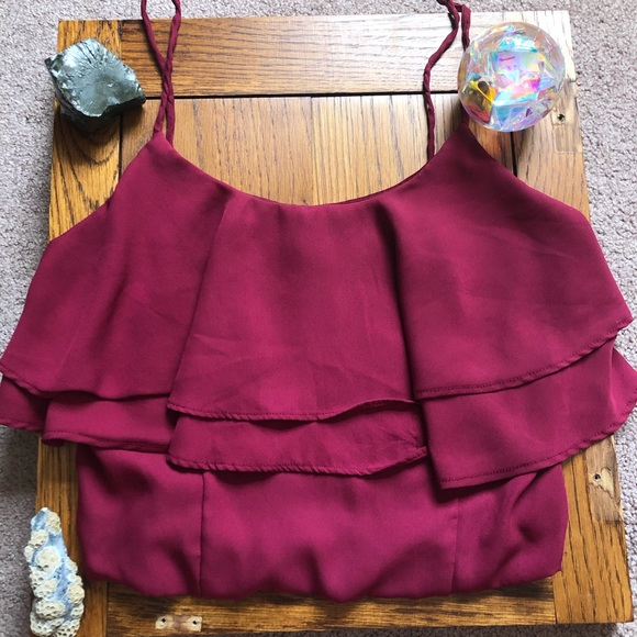 Charlotte Russe Tops - Red Ruffle Crop Top